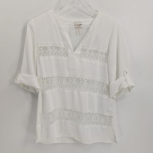 Chico's White Lace Panel Split Neck Roll Tab Top